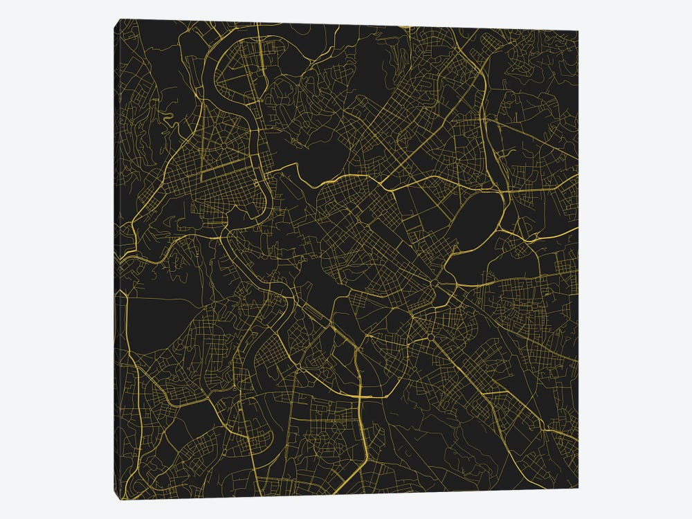 Rome Urban Roadway Map (Yellow) by Urbanmap 1-piece Canvas Artwork