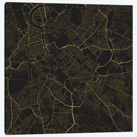 Rome Urban Roadway Map (Yellow) Canvas Print #ESV303} by Urbanmap Canvas Wall Art