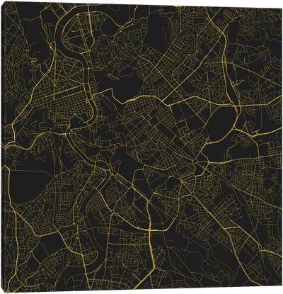 Rome Urban Roadway Map (Yellow) Canvas Art Print