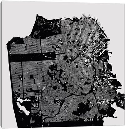 San Francisco Urban Map (Black) Canvas Art Print