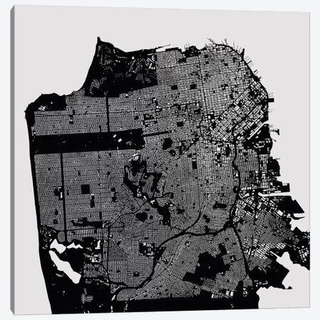 San Francisco Urban Map (Black) Canvas Print #ESV304} by Urbanmap Canvas Print