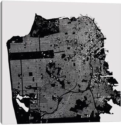 San Francisco Urban Map (Black) Canvas Art Print