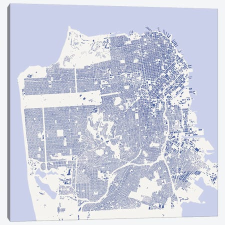 San Francisco Urban Map (Blue) Canvas Print #ESV305} by Urbanmap Canvas Art Print