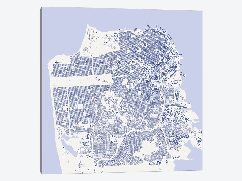 San Francisco Urban Map (Blue) by Urbanmap 1-piece Canvas Artwork