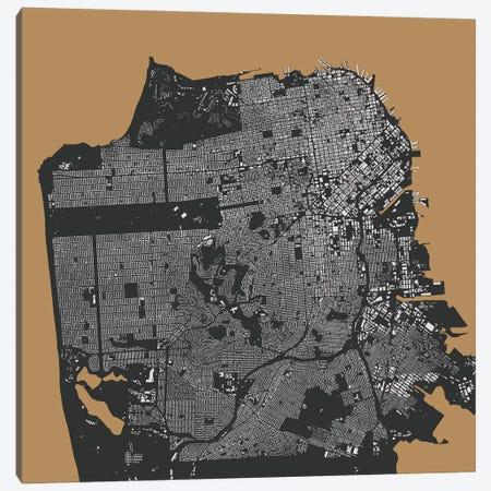 San Francisco Urban Map (Gold) Canvas Print #ESV306} by Urbanmap Canvas Print