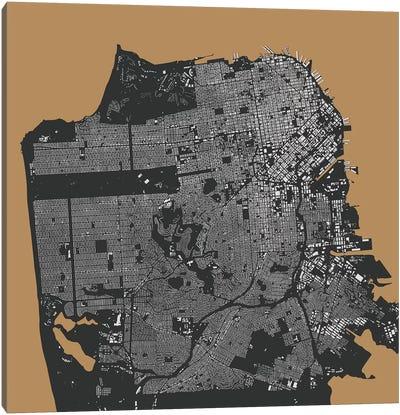 San Francisco Urban Map (Gold) Canvas Art Print