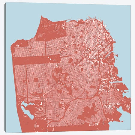 San Francisco Urban Map (Pink) Canvas Print #ESV308} by Urbanmap Canvas Art