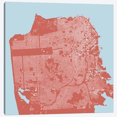 San Francisco Urban Map (Pink) Canvas Print #ESV308} by Urbanmap Canvas Art