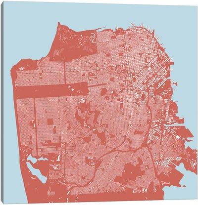 San Francisco Urban Map (Pink) Canvas Art Print