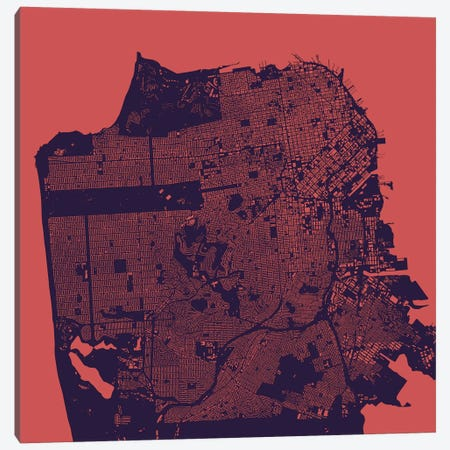 San Francisco Urban Map (Purple Night) Canvas Print #ESV309} by Urbanmap Canvas Art