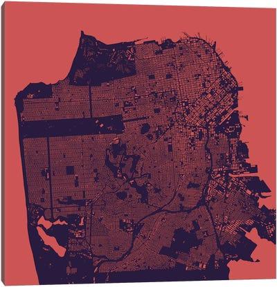 San Francisco Urban Map (Purple Night) Canvas Art Print