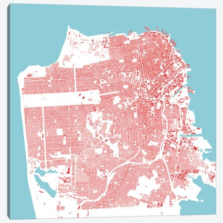 San Francisco Urban Map (Red) Canvas Print #ESV310} by Urbanmap Art Print