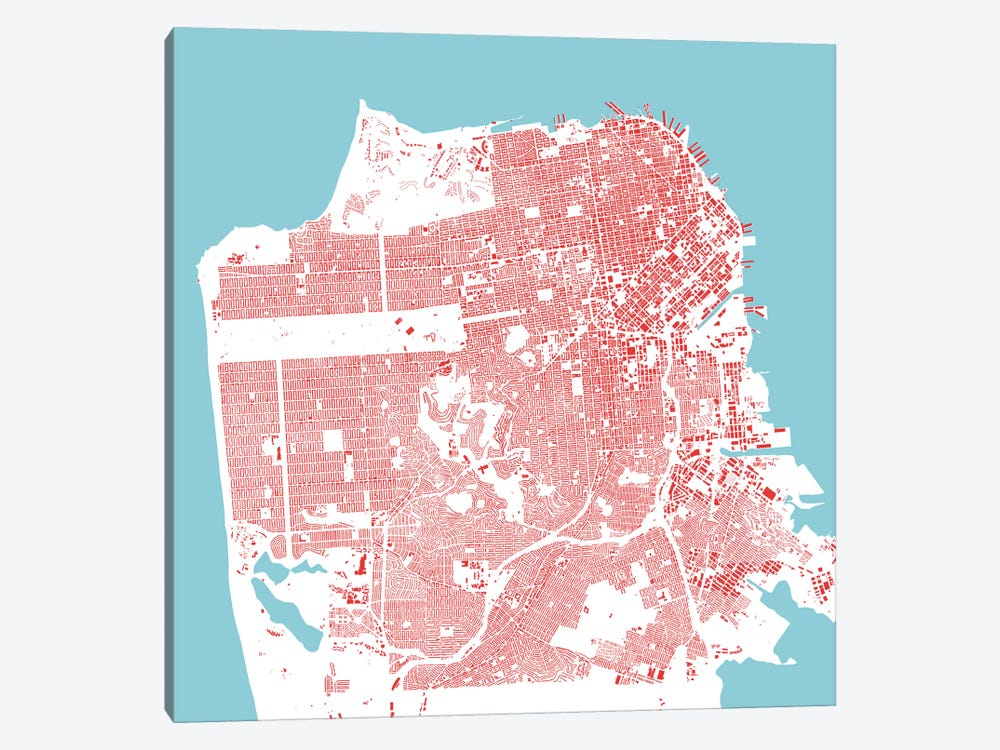 San Francisco Urban Map (Red) by Urbanmap 1-piece Canvas Art