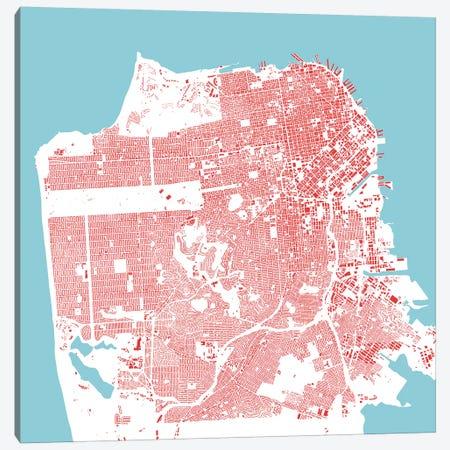 San Francisco Urban Map (Red) Canvas Print #ESV310} by Urbanmap Art Print