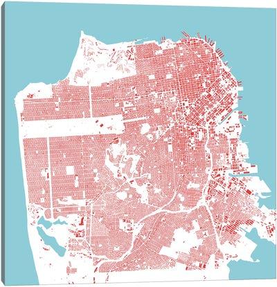 San Francisco Urban Map (Red) Canvas Art Print