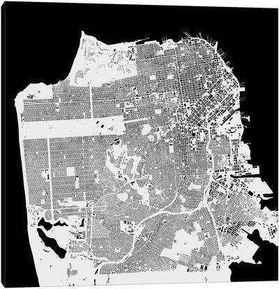 San Francisco Urban Map (White) Canvas Art Print