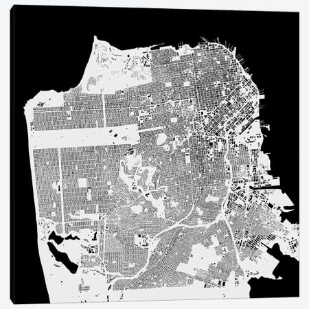 San Francisco Urban Map (White) Canvas Print #ESV311} by Urbanmap Art Print