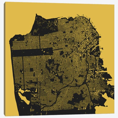 San Francisco Urban Map (Yellow) Canvas Print #ESV312} by Urbanmap Canvas Art Print
