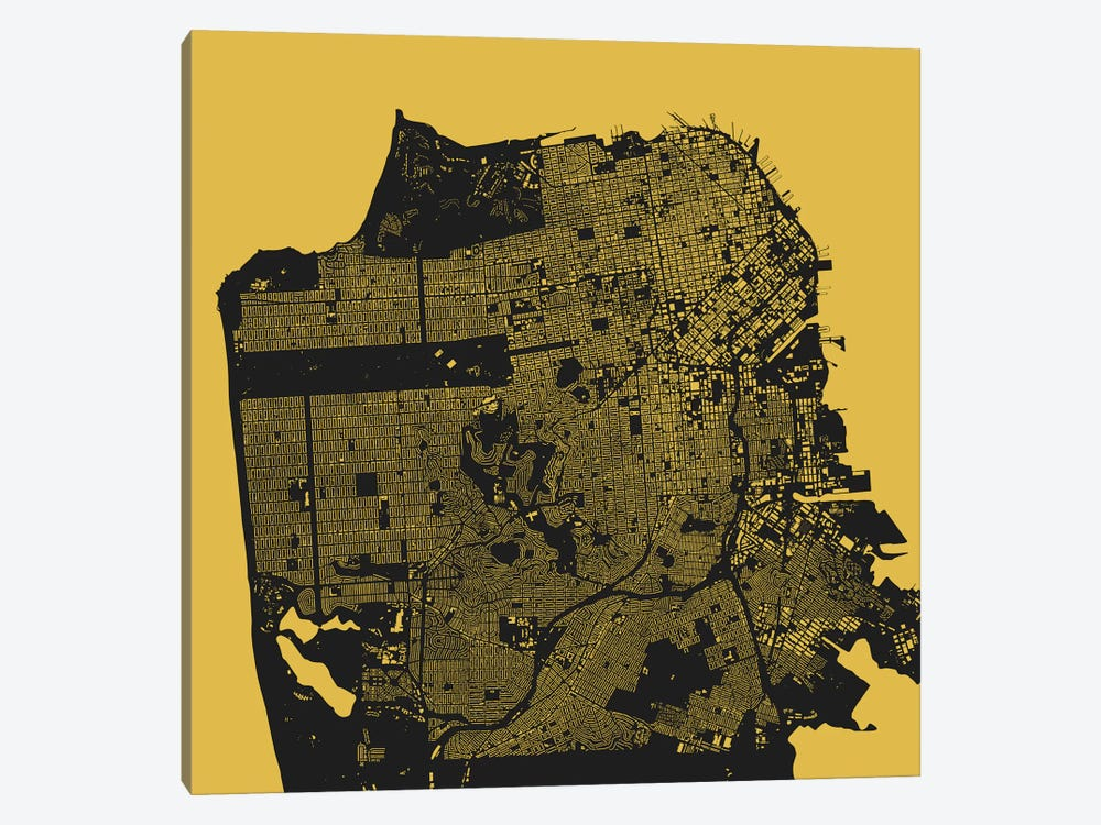San Francisco Urban Map (Yellow) by Urbanmap 1-piece Canvas Art