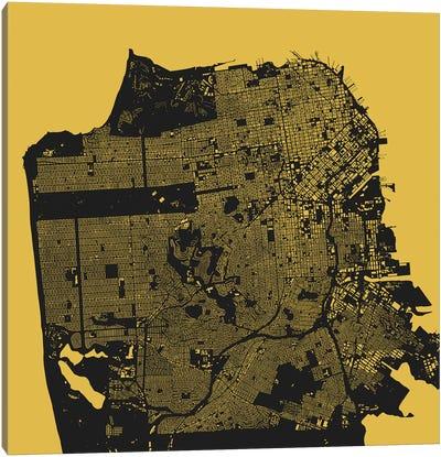 San Francisco Urban Map (Yellow) Canvas Art Print
