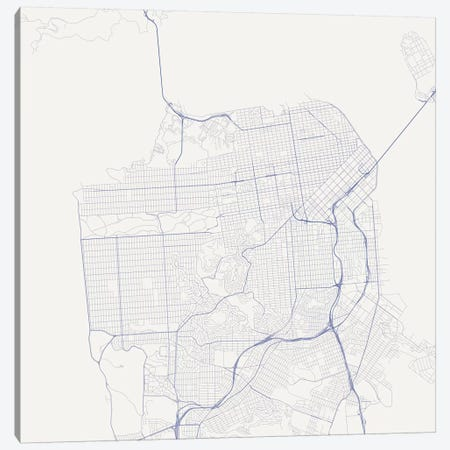 San Francisco Urban Roadway Map (Blue) Canvas Print #ESV314} by Urbanmap Canvas Wall Art