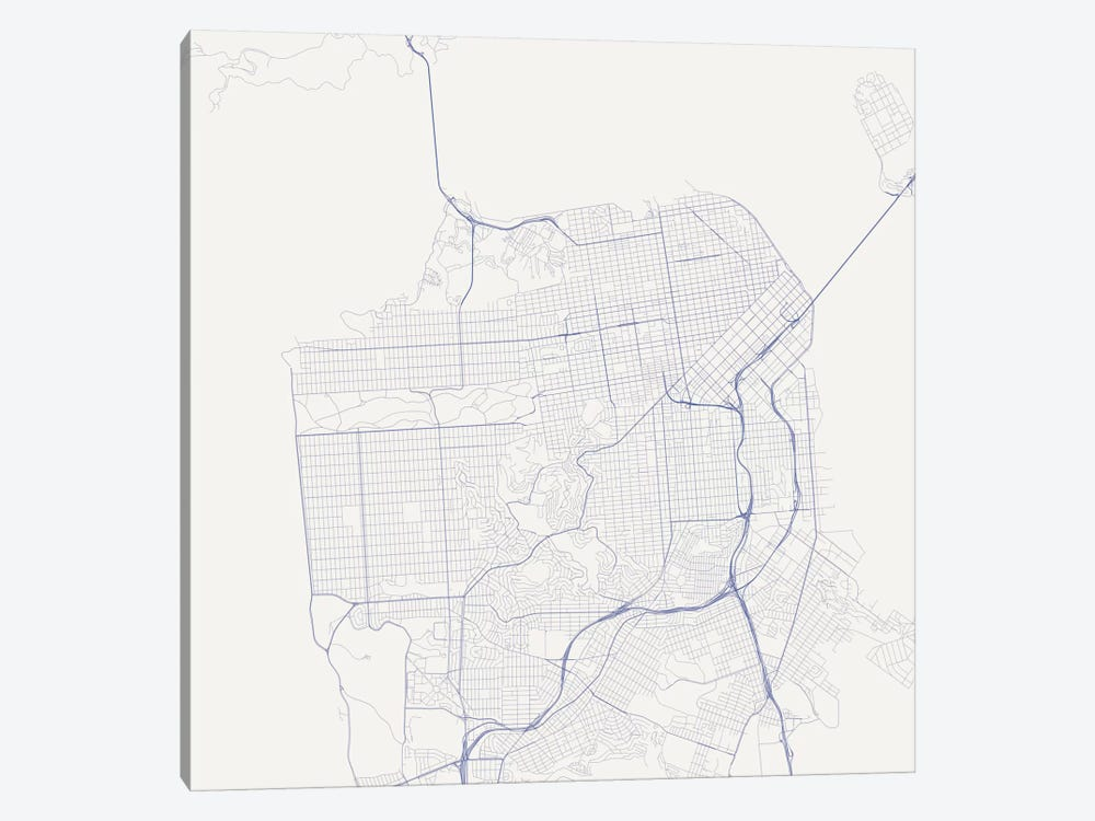 San Francisco Urban Roadway Map (Blue) by Urbanmap 1-piece Canvas Wall Art