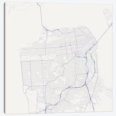 San Francisco Urban Roadway Map (Blue) Canvas Print #ESV314} by Urbanmap Canvas Wall Art