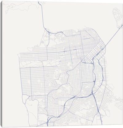 San Francisco Urban Roadway Map (Blue) Canvas Art Print