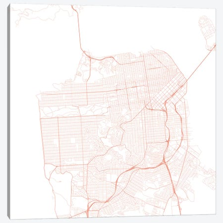 San Francisco Urban Roadway Map (Red) Canvas Print #ESV319} by Urbanmap Art Print