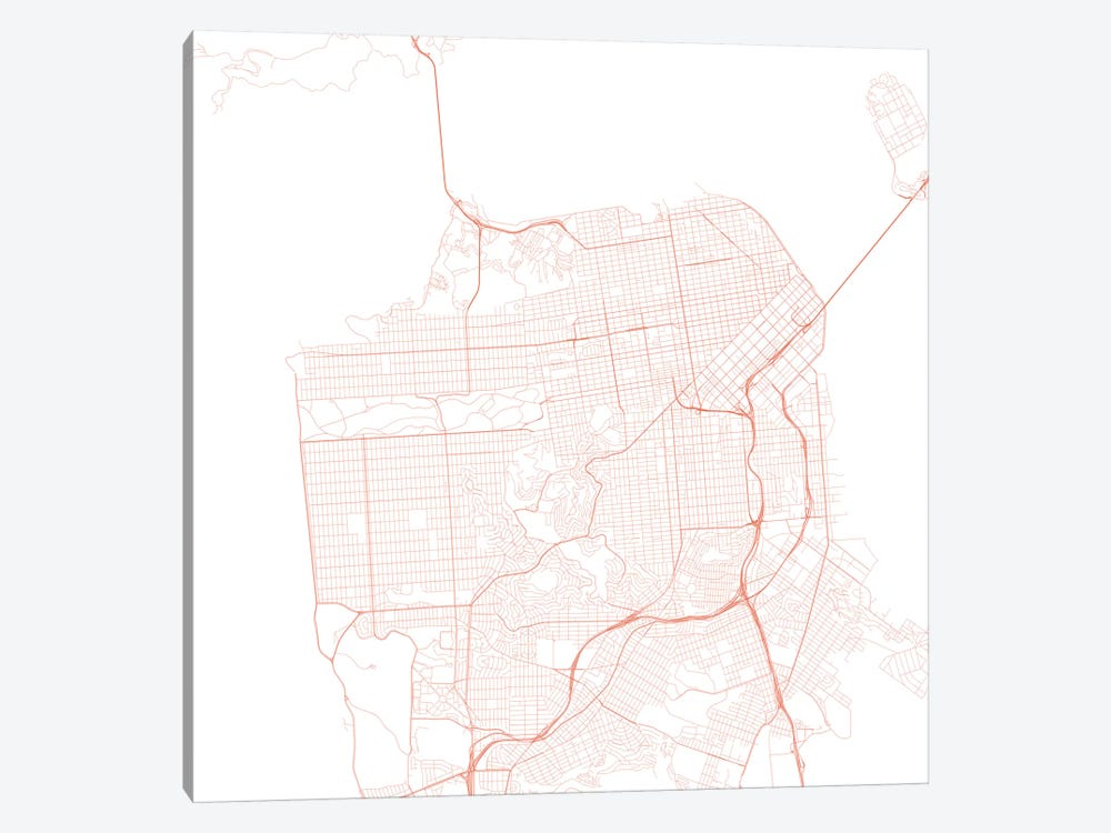 San Francisco Urban Roadway Map (Red) by Urbanmap 1-piece Canvas Art Print
