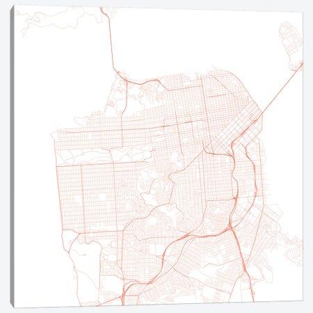 San Francisco Urban Roadway Map (Red) Canvas Print #ESV319} by Urbanmap Art Print