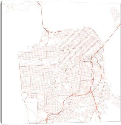 San Francisco Urban Roadway Map (Red) Canvas Art Print