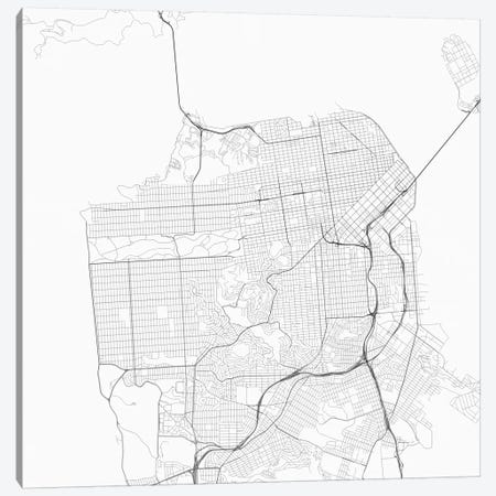 San Francisco Urban Roadway Map (White) 3-Piece Canvas #ESV320} by Urbanmap Canvas Art