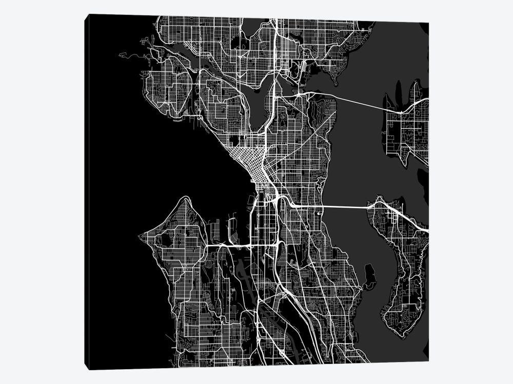 Seattle Urban Roadway Map (Black) by Urbanmap 1-piece Canvas Print