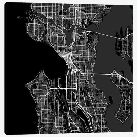 Seattle Urban Roadway Map (Black) Canvas Print #ESV322} by Urbanmap Canvas Wall Art
