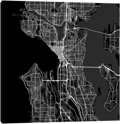 Seattle Urban Roadway Map (Black) Canvas Art Print