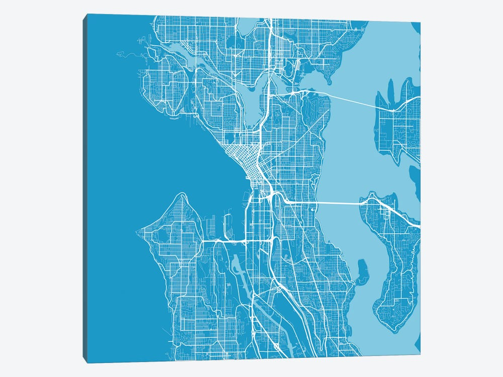 Seattle Urban Roadway Map (Blue) by Urbanmap 1-piece Canvas Wall Art