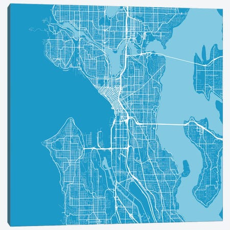 Seattle Urban Roadway Map (Blue) Canvas Print #ESV323} by Urbanmap Canvas Art