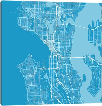 Seattle Urban Roadway Map (Blue) Canvas Art Print