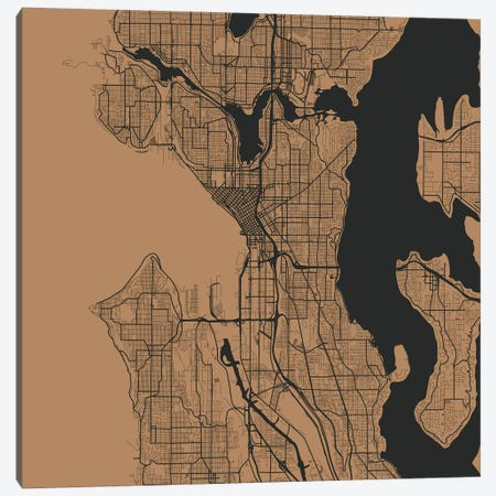 Seattle Urban Roadway Map (Gold) Canvas Print #ESV324} by Urbanmap Canvas Print
