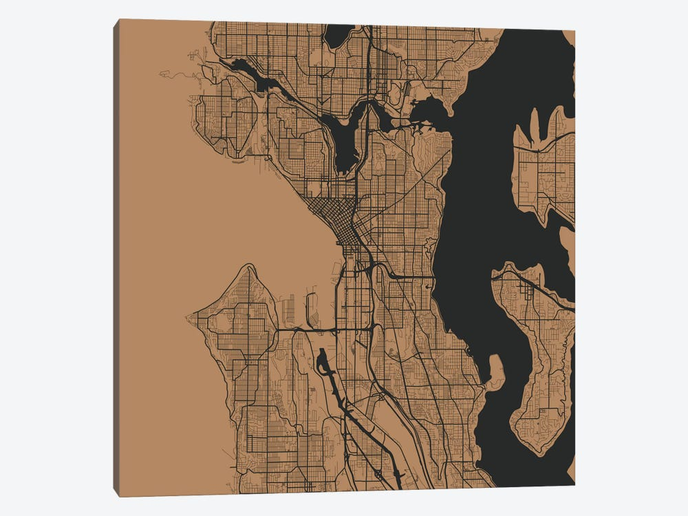 Seattle Urban Roadway Map (Gold) by Urbanmap 1-piece Canvas Print
