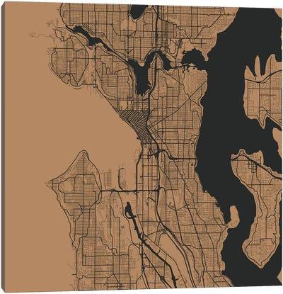 Seattle Urban Roadway Map (Gold) Canvas Art Print