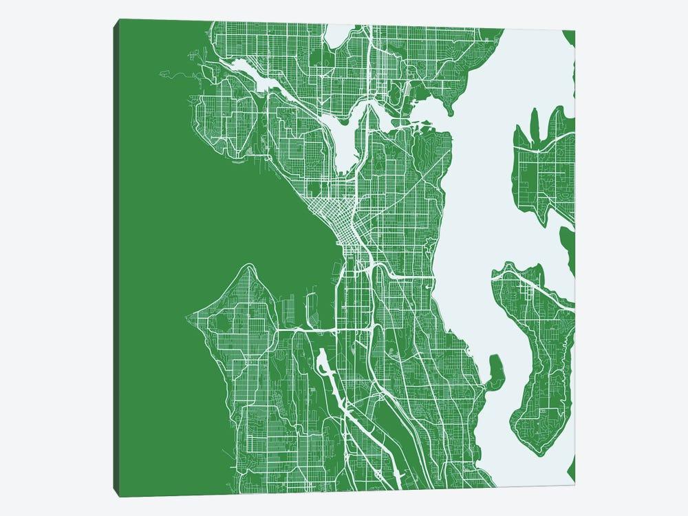 Seattle Urban Roadway Map (Green) by Urbanmap 1-piece Canvas Art