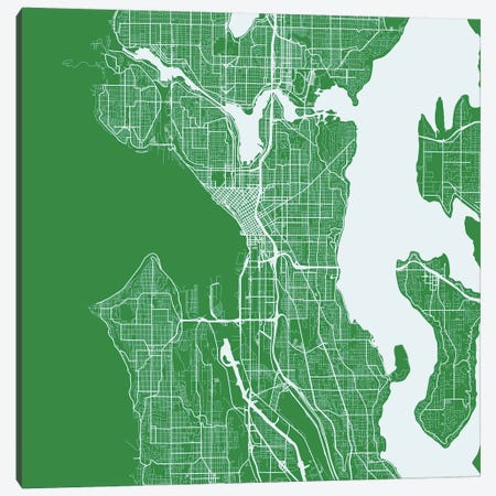 Seattle Urban Roadway Map (Green) Canvas Print #ESV325} by Urbanmap Art Print