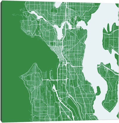 Seattle Urban Roadway Map (Green) Canvas Art Print