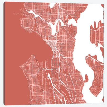 Seattle Urban Roadway Map (Pink) Canvas Print #ESV326} by Urbanmap Art Print
