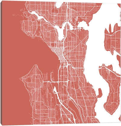 Seattle Urban Roadway Map (Pink) Canvas Art Print