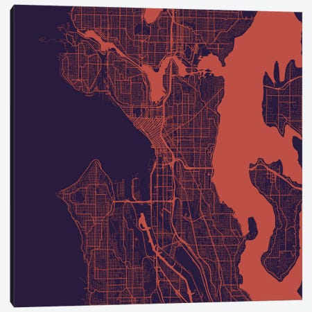 Seattle Urban Roadway Map (Purple Night) Canvas Print #ESV327} by Urbanmap Canvas Art Print