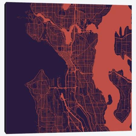 Seattle Urban Roadway Map (Purple Night) Canvas Print #ESV327} by Urbanmap Canvas Art Print