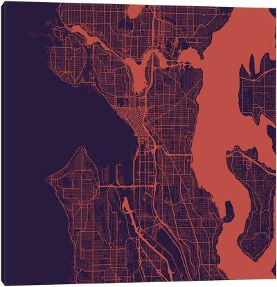Seattle Urban Roadway Map (Purple Night) Canvas Art Print